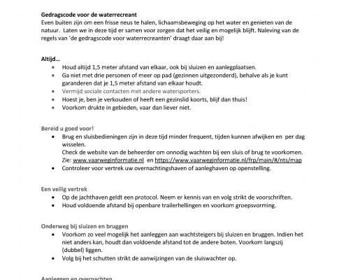 corona Gedragscode_voor_de_waterrecreant_3_4_2020